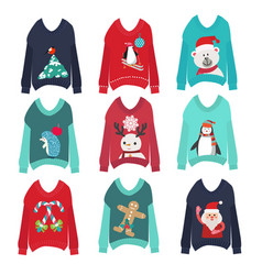 cute ugly christmas sweaters set sweater party vector image vector image