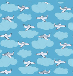cute white planes in the sky with clouds pattern vector image