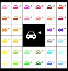Eco electric car sign felt-pen 33 vector