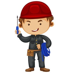 Electrician wearing safety hat vector