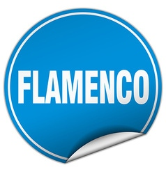 Flamenco round blue sticker isolated on white vector