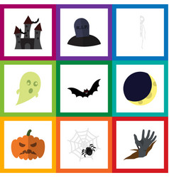 flat icon celebrate set of zombie crescent vector image vector image