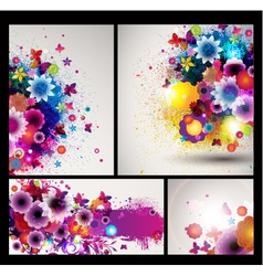 grungy floral background set vector image