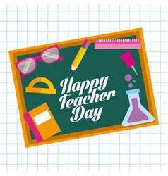 happy teacher day card chalkboard elements school vector image