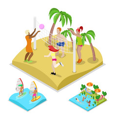 Isometric outdoor beach volleyball surfing vector