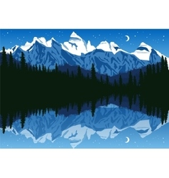 lake near the pine forest in mountains vector image vector image