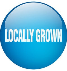 Locally grown blue round gel isolated push button vector