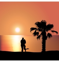 Loving couple on the seashore at sunset vector