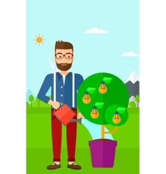 Man watering tree with light bulbs vector