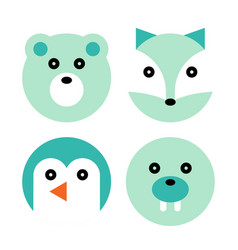 polar animal cartoon set vector image