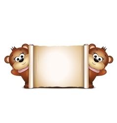 Postcard design template Two teddy bears vector image vector image