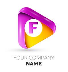 Realistic letter f symbol in colorful triangle vector