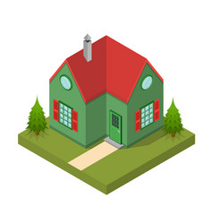 Residential building isometric view vector