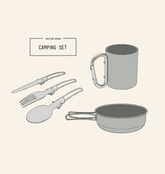Set of hand drawn camping equipment drawing vector
