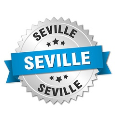Seville round silver badge with blue ribbon vector
