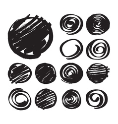 Shaded Circles and Spiral Design Elements vector image