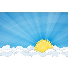 Sun and white clouds over blue sky vector