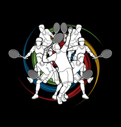 Tennis players men action vector