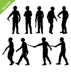 Traffic police silhouettes vector