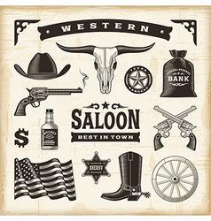 Vintage western set vector