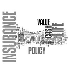 Whole life insurance text word cloud concept vector