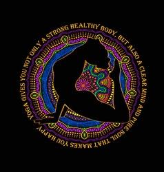 Woman Doing Cobra Pose Of Yoga And Mandala Design vector image vector image