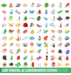 100 travel landmarks icons set isometric 3d style vector image