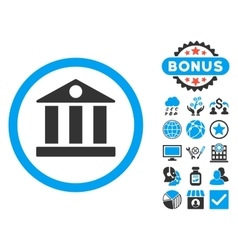 Bank flat icon with bonus vector