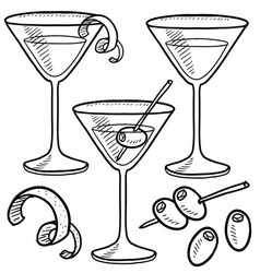 Doodle drink martini vector