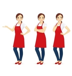 Woman in red apron vector image