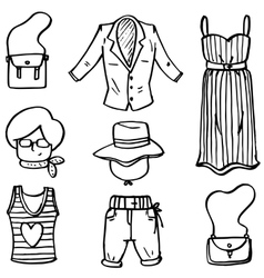 Doodle of women clothes set hand draw vector image