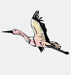 Hand-drawn stork swan engraving stencil vector