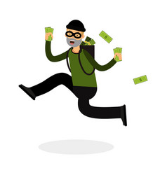 Thief in a mask character running with a backpack vector