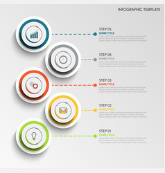 Info graphic with abstract design round labels vector