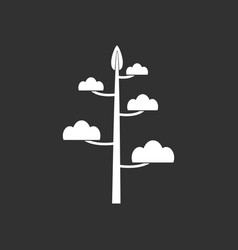White icon on black background simple tree vector