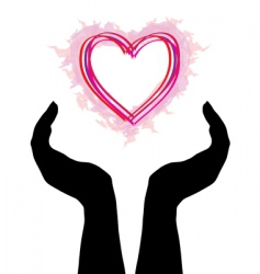 Human hands caring heart vector