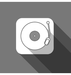 Flat long shadow trendy record player icon vector