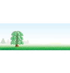 Summer landscape with a tree vector