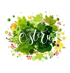 Hand sketched frohe ostern happy easter in german vector