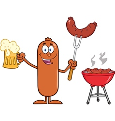 Happy sausage cartoon enjoying a barbeque vector