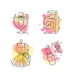 french fashion hand drawn elements set vector image