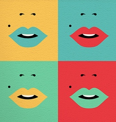 Retro pop art colorful concept with girl face vector