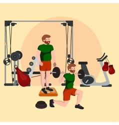 Sports and fitness people workout man in gym vector