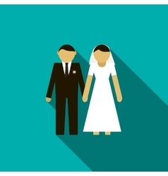Bride and groom icon flat style vector