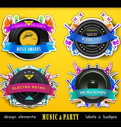 Retro music badge labels vector