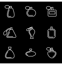 Line perfume icon set vector
