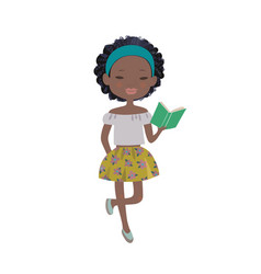 a cute cartoon afro-american girl reading a book vector image