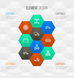 auto outline icons set collection of wheel vector image vector image