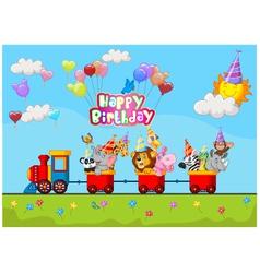 Birthday cartoon with happy animal on train vector image