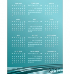 calender for 2010 vector image vector image